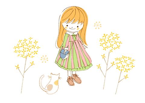 春 女の子のイラスト