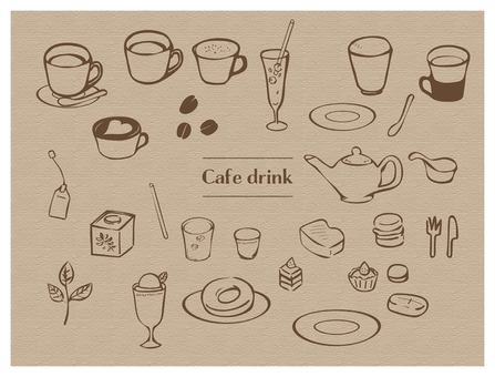Hand drawn style drink & food set line tea