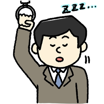 A salaryman sleeping on a train
