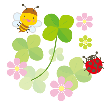 Four-leaf clover and bees