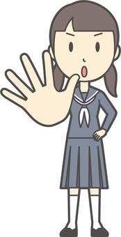 Junior high school sailor woman -075-whole body
