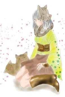 Cold underwear Character none Sakura snowstorm background