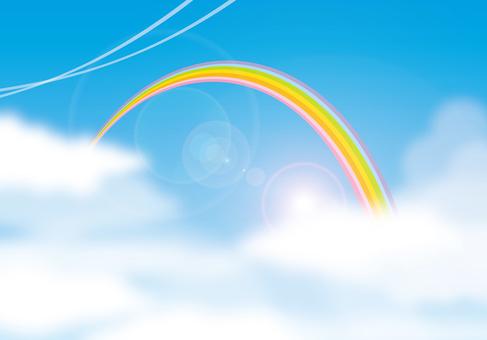무지개와 푸른 하늘 배경