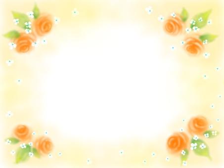 オレンジ色のバラのフレーム