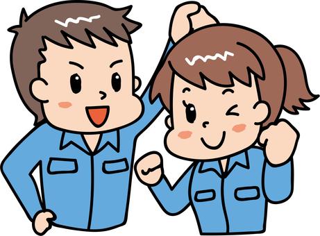 Cheerful male / female worker blue 5