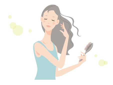 Woman _ brushing hair