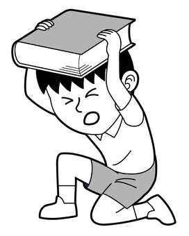 Boy crouching and protecting his head with a book