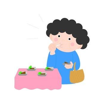 A woman looking at eating eyes