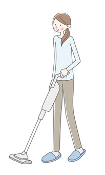 진공 청소기로 청소 여성