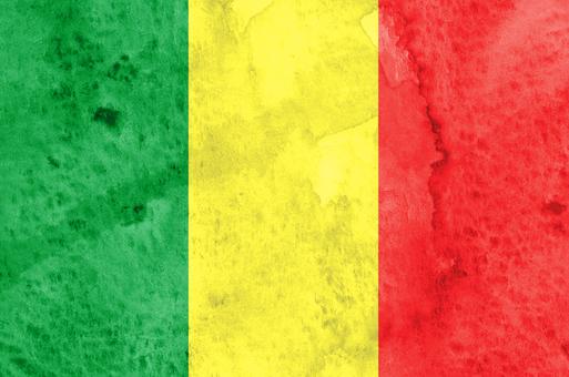 Flag watercolor Mali