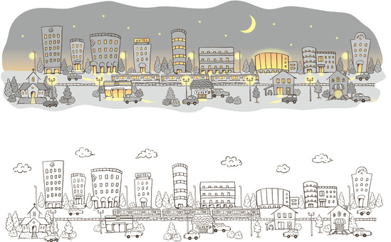 Cityscape _ night and line drawing