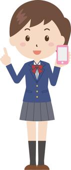 여자 | 고등학생 | 유니폼 | 스마트 폰