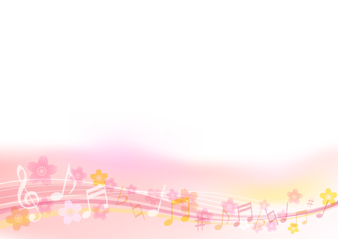 Background material frame frame of pink cherry blossom and musical notes