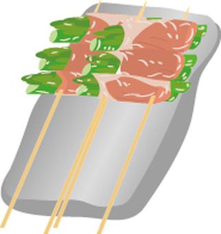 Food series Yakitori asparagus bacon dish
