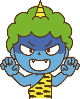 Threatening blue demon