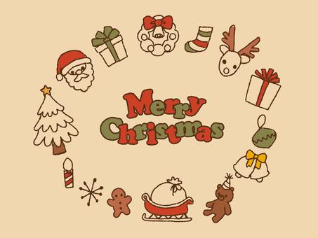 レトロな手描きクリスマスフレーム1
