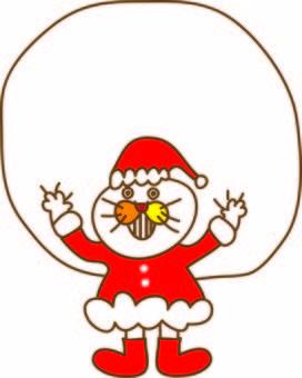 Funny cat Tachiko and Santa Claus