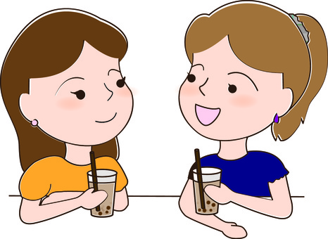 Girls drinking tapioca drinks