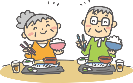 Old couple _ food