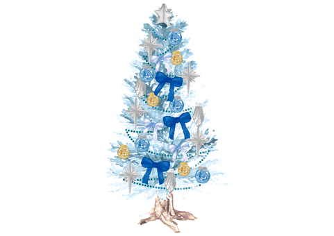 《水彩風》クリスマスツリー_豪華2