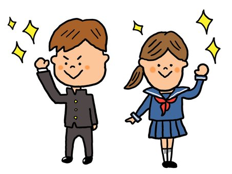 Student male and female raising fist