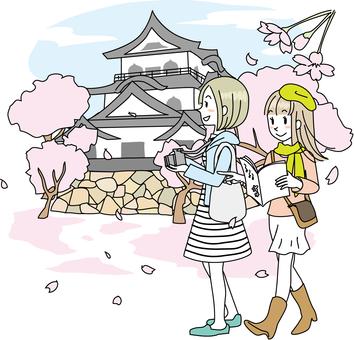 성 여자와 벚꽃