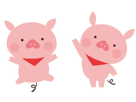 Two cute small pigs