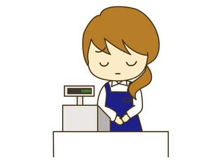 Apologizing cash register woman