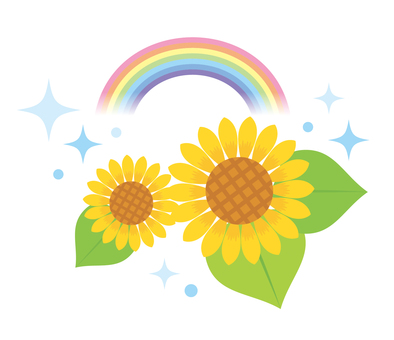 Illustration 01 of sunflower and rainbow