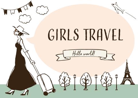 女子旅フレームイラスト