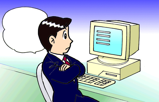 Businessman thinking of a 90s personal computer