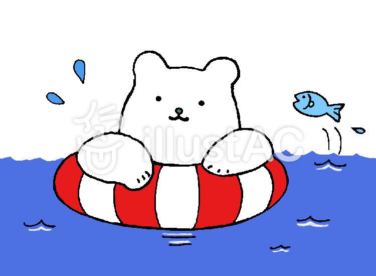 海で泳ぐしろくまイラスト No 853108無料イラストならイラストac