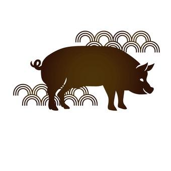 横向きの春節豚