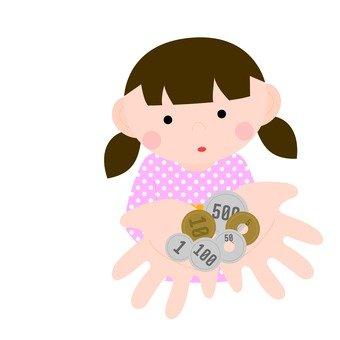 손바닥에 동전을 올려 여자