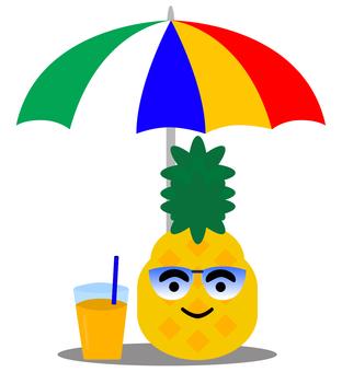 Pineapple drinking juice under umbrellas