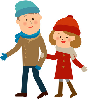 Winter couple going out
