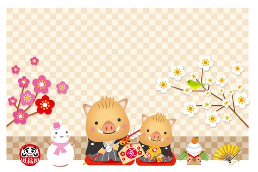 猪の親子の挨拶の年賀状背景