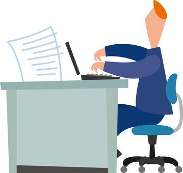 Businessman desk work computer