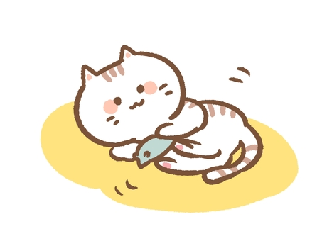 Cat playing with toys