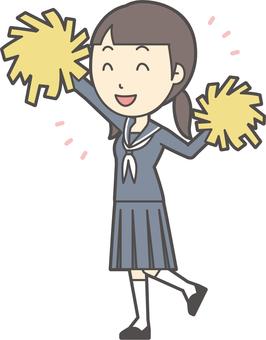 Junior high school sailor woman -079-whole body