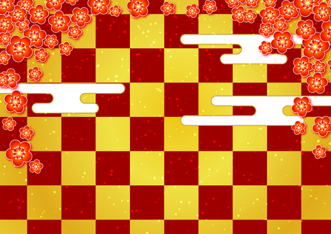 Plum and checkered background