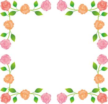 Rose flower decorative frame