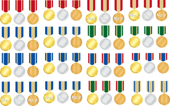 Medal set gold silver copper