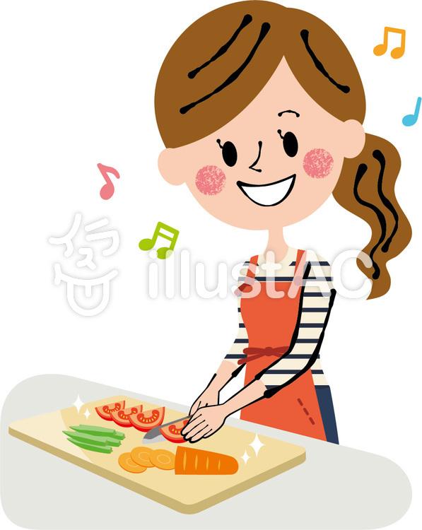 野菜を切る 料理中の女性イラスト No 944052無料イラストなら