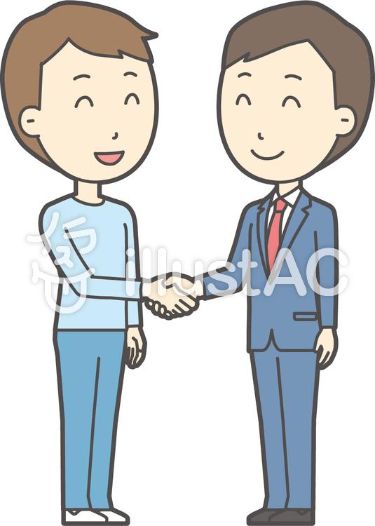 青年スーツ青と握手-008-全身のイラスト