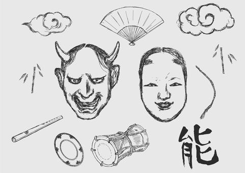 Noh mask line drawing