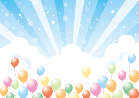 Balloons and sky background material 03