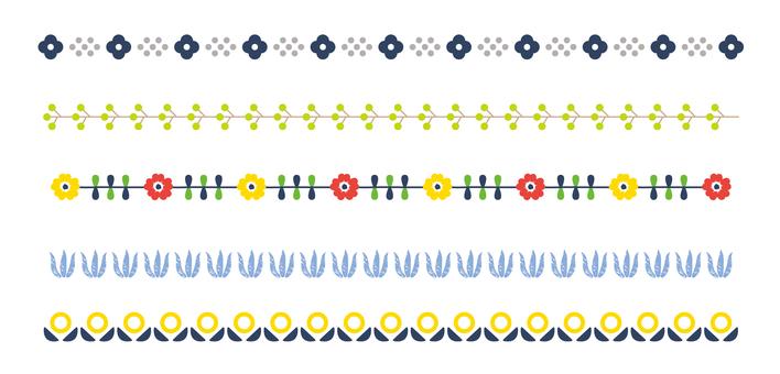 Line decoration 04 Scandinavian flower pattern
