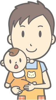 Nursery teacher - hug - bust