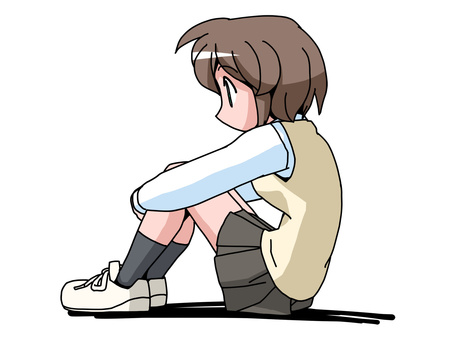 Physical education sitting (high school girl)